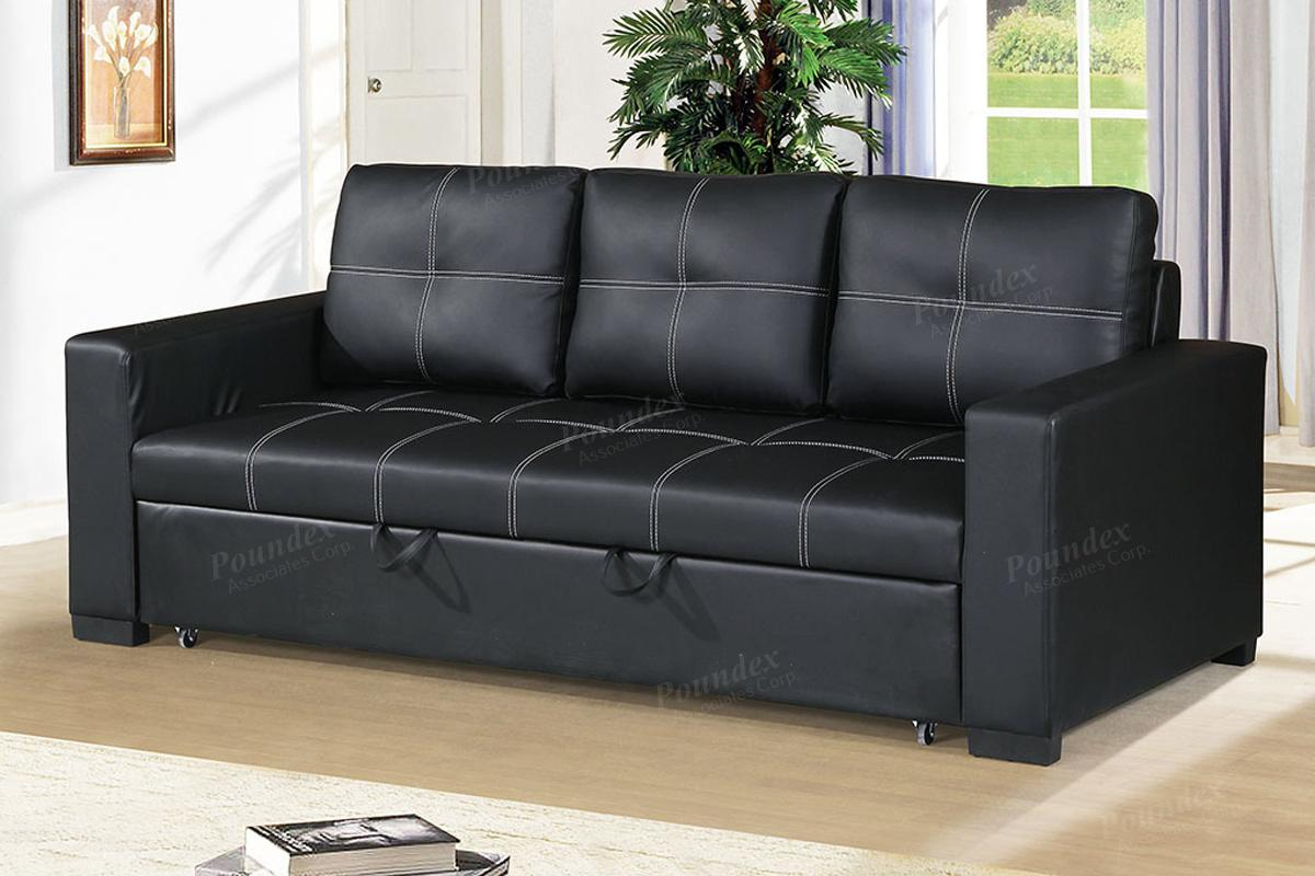 Black Leather Sofa Bed - Steal-A-Sofa Furniture Outlet Los Angeles CA