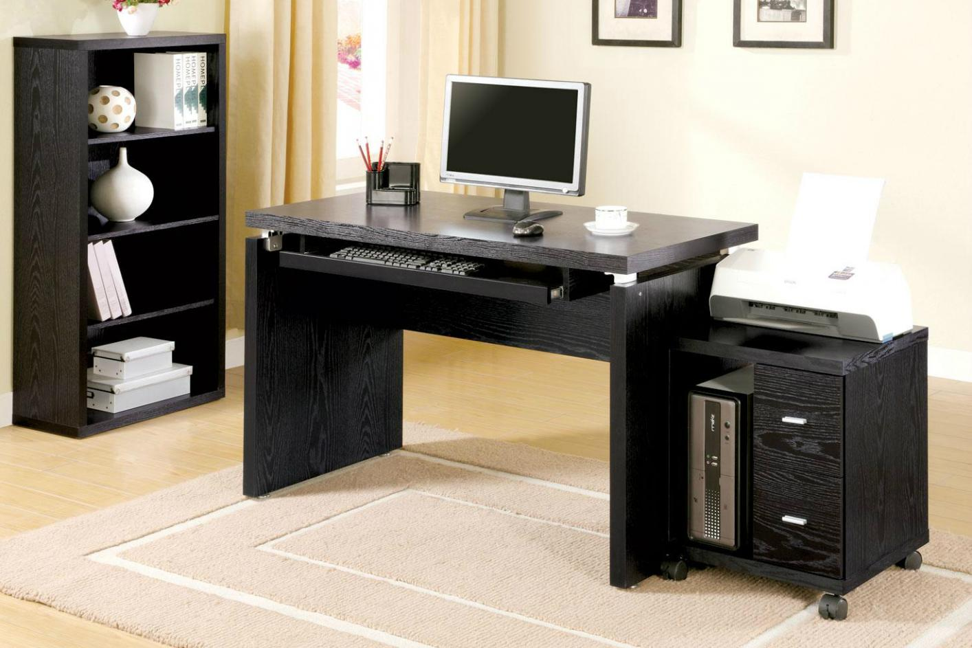 black wood computer desk steal a sofa furniture outlet. Black Bedroom Furniture Sets. Home Design Ideas