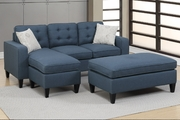 Blue Fabric Sectional Sofa and Ottoman