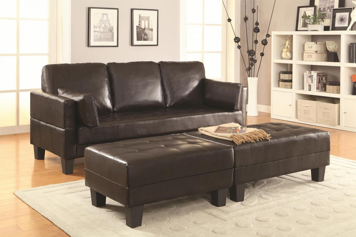 Brown Leather Sofa Bed And Ottoman Set Steal A Sofa