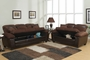 Gabe Brown Leather Sofa and Loveseat Set with Storage