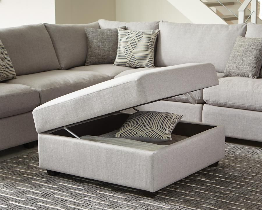 Ottomans Lucia Storage Chest Grey Fabric: Steal-A-Sofa Furniture Outlet Los