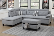 Grey Fabric Sectional Sofa and Ottoman