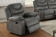 Grey Leather Rocker Recliner Chair