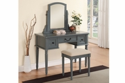 Grey Wood Vanity Set with Stool