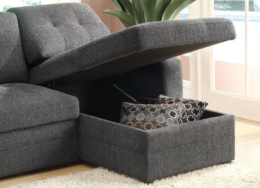 ... Gus Black Fabric Sectional Sleeper Sofa ...