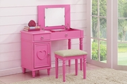 Pink Wood Vanity Set with Stool