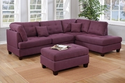 Purple Fabric Sectional Sofa and Ottoman
