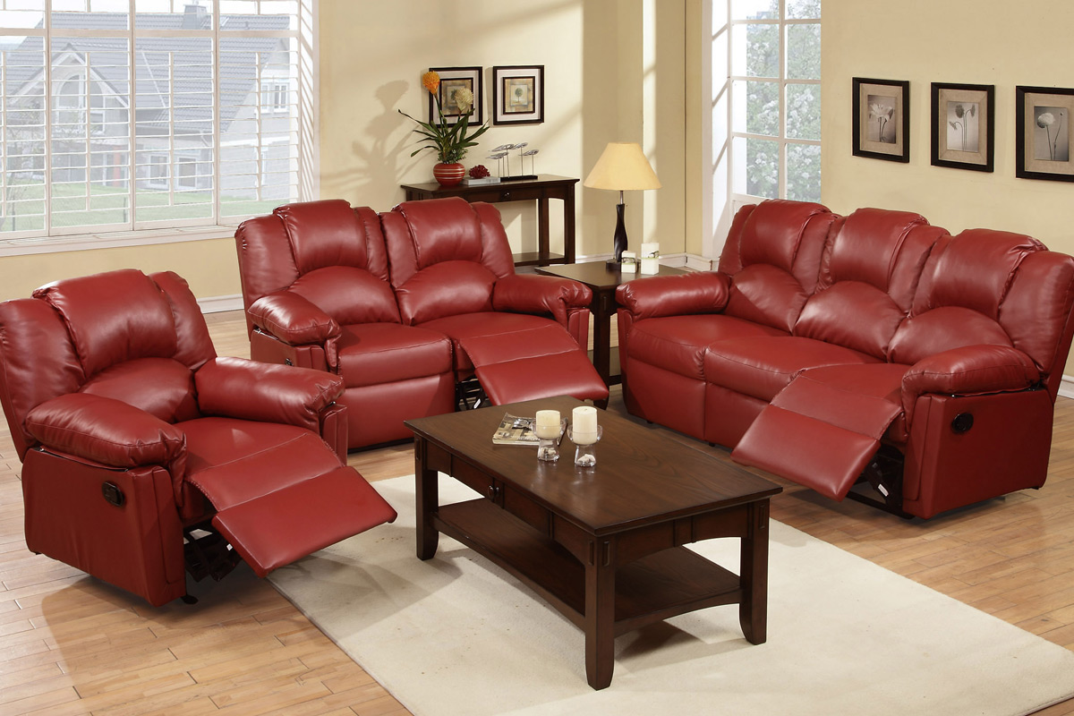 Red Leather Reclining Sofa | Baci Living Room