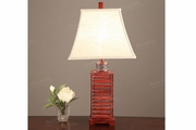 Red Wood Table Lamp