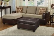 Ellie Brown Leather Sectional Sofa and Ottoman