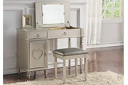 Silver Wood Vanity Set with Stool