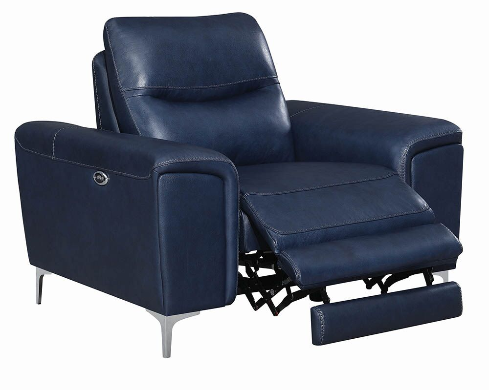 Blue Leather Power Reclining Chair   Steal A Sofa Furniture Outlet Los  Angeles CA
