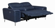 Skye Blue Leather Power Reclining Loveseat