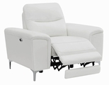 Skye White Leather Power Reclining Chair