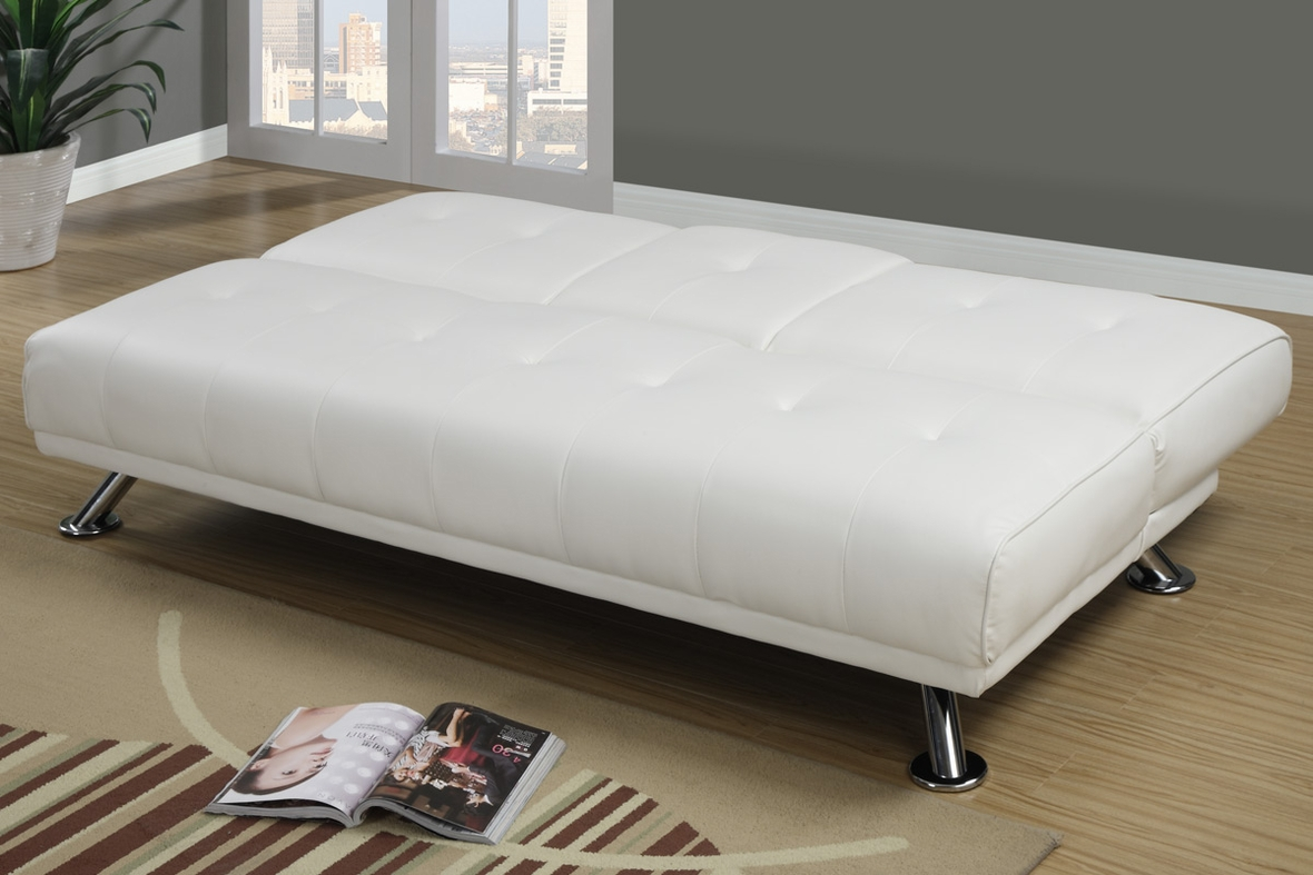 White Leather Twin Size Sofa Bed Steal A Sofa Furniture