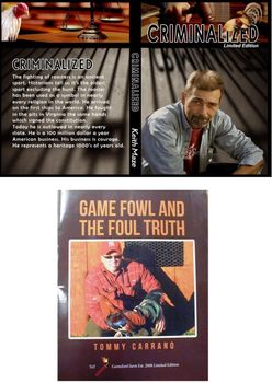 "<p style=""font-family:arial;color:red;font-size:20px;"">AVAILABLE NOW</p>   Criminalized and Gamefowl the Foul Truth **package deal**"