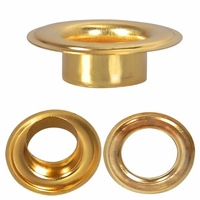 """Grommet & Washer, BRASS,  <p style=""""font-family:arial;color:red;font-size:20px;""""> SIZE #2"""