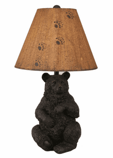 Bear Cub Lamp w/hand painted shade