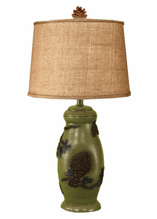 Pinecone Lamp with Real Pinecone Finial