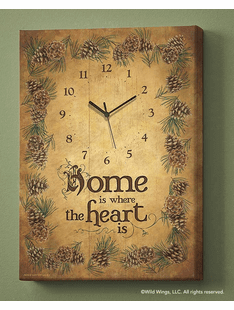 Home Is Where The Heart Is - Pinecone Wrapped Canvas Clock