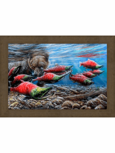 Last Run - Fishing Bear Framed Print