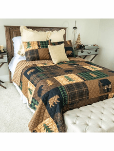 Brown Bear Cabin- Queen Quilt Set