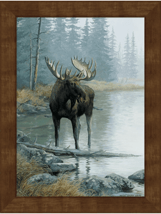 Quiet Water-Moose Large Framed Canvas
