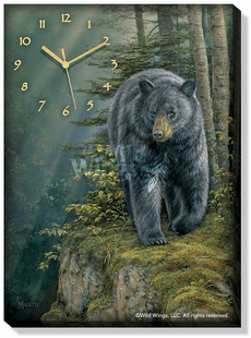 Rocky Outcrop - Black Bear Wrapped Canvas Clock