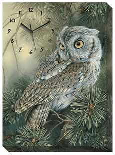 Screech Owl Wrapped Canvas Art Clock