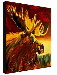 Sunset Moose - Wrapped Canvas