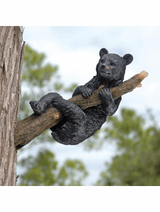 Up a Tree - Hanging Black Bear Cub Sculpture