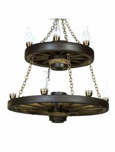 Wagon Wheel Double Tier Chandelier