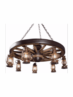 WAGON WHEEL RUSTIC LANTERN CHANDELIER
