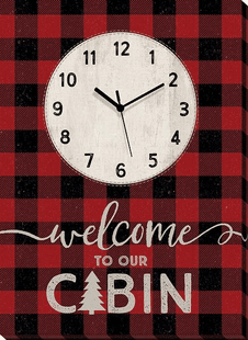 Welcome to Our Cabin Plaid Wrapped Canvas Clock