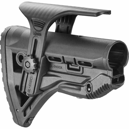 Fab Defense Recoil-Reducing M4/AR-15 Stock with Adjustable Cheekpiece - FX-GLSHOCKCP
