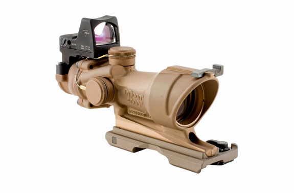 Trijicon ACOG 4X32 Dark Earth Brown Scope With RMR Sight, Amber Crosshair