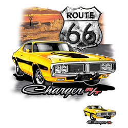 Wholesale Men's Women's Dodge Charger Route 66 Car T Shirts Bulk Suppliers - 21147D1