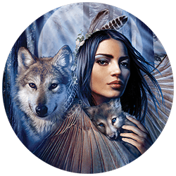 Bulk Wholesale Suppliers Graphic T-Shirts Native Maiden Wolf - 22340HD3