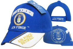 Military Men's Hats Caps Women's Licensed Military Air Force Retired Wholesale Baseball Logo Embroidered Headwear Suppliers Bulk