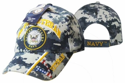 Military Hats Caps Wholesale Licensed Supplier Bulk Massachusetts - AP592BC Navy Vet & Emblem Cap Camo