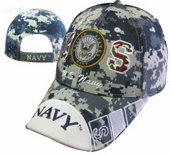 Military Hats Caps Wholesale Licensed Supplier Bulk Massachusetts - CAP602EC Navy Emblem NAVY Bill Cap Camo