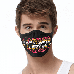 Teeth Art Brands Heat Transfers, Virus Face Masks, Funny Graphic Screen Printed, Wholesale Supplier - Face Masks
