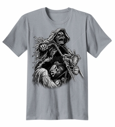 Brand Clothing Wholesale Suppliers - 619-13432-19x23-grim-reaper-riding-motorcycle-grey