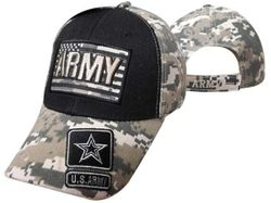 MSC Distributors : Bulk Caps Hats Supplier Wholesale Military Embroidered American USA - CAP601FC ARMY atop of Flag Cap Camo