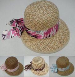 Wholesale T Shirts Hats Products for Resale Online - HT326. Womans Straw Hat with Printed Bow