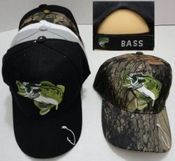 MSC Distributors : Funny Fishing Men's Hats Wholesale Bulk Supplier - HT725. Fish Hat [Hook on Bill] Bass on Back