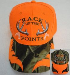 Wholesale Hunting Clothes - Hunting Wholesalers - HT763. RACK UP THE POINTS Ball Cap [Flames on Bill]