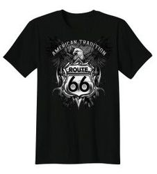 Plus Size Clothing, T Shirts Gildan Biker Bulk Wholesale Clothing Suppliers In USA - BIKER T-SHIRT CUSTOM DESIGN AMERICAN TRADITION ROUTE 66 EAGLE