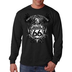 Plus Size Clothing, Wholesale Suppliers - Long Sleeve Route 66 T Shirts - MSC Distributors